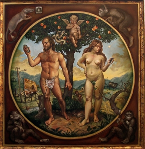 "(News lovers in the)Planet of the Apps (2013) Huile sur toile 36"" x 36"" de  Patrick McGrath Muñiz  Dans cette version, Adam et Eve s'ignorent mutuellement, prêtant plus d'attention à leur smartphone."