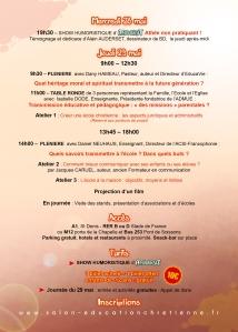 6ème Salon de l'Education chrétienne(28-29 mai 2014) Programme détaillé