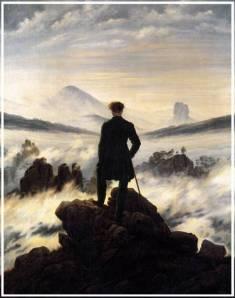 """(Le voyageur contemplant une mer de nuages de Caspar David Friedrich - 1818) Pour apprendre à connaître quelqu'un, sortez-le de sa """"zone de confort"""" habituelle et...montrez-lui ce tableau !"""