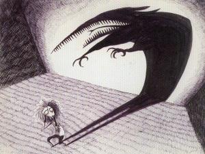 """""""Peur de son ombre"""". Dessin préparatoire de Tim Burton pour le court-métrage """"Vincent"""""""