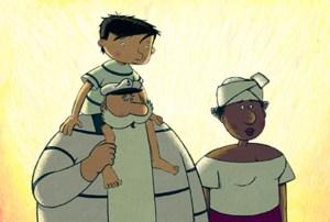 """Une famille non conventionnelle, mais aimante et stable. (Scène de """"La Prophétie des grenouilles"""")"""
