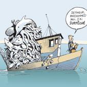 """""""Pardonnez-moi, Seigneur, car j'ai surpêché"""", dit ce """"grand pêcheur"""" devant l'Eternel... (Dessin de Patrick Chapatte)"""