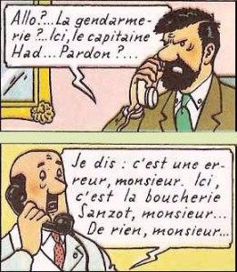 """Le capitaine Haddock et """"la boucherie Sanzot"""" (Album Tintin """"les bijoux de la castafiore"""", par Hergé)"""