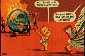 COP21 : pour relever le défi climatique, une nouvelle conférence (par Ben Jennings. Dessin paru dans The Guardian)