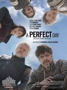 """""""A perfect"""" : ici, les cadavres ne se trouvent pas dans les placards mais dans les puits...A moins que la vérité n'y surgisse, ce """"jour comme un autre""""... Affiche du film de Fernando León de Aranoa"""