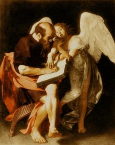 """""""Saint Matthieu écoutant l'ange lui dicter le Nouveau Testament"""" par le Caravage (Première version, 1602. Refusée par les commanditaires du tableau, détruit en 1945)"""