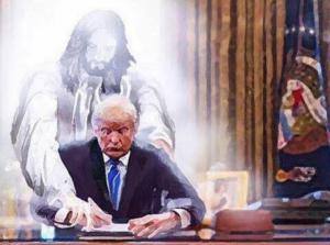 Trump, un « nouveau Cyrus » ? Ou « fanatisme sacrilège » ? Un chromo délirant et inquiétant se propage sur la toile de façon virale depuis le 20/01/17 : « Jésus-Christ guidant Donald Trump pour signer ses décrets » (anti-immigration ?)